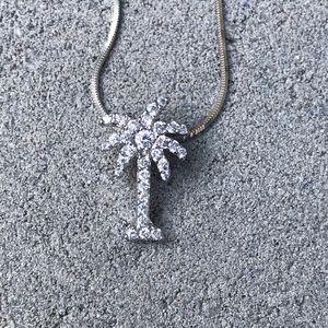 Jewelry - Sterling Silver Palm Tree Necklace CZ Diamonds